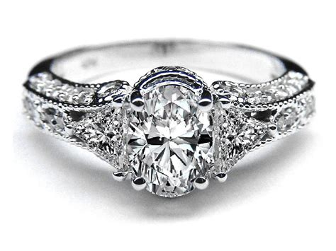 vintage style oval diamond engagement ring 0 83 tcw in