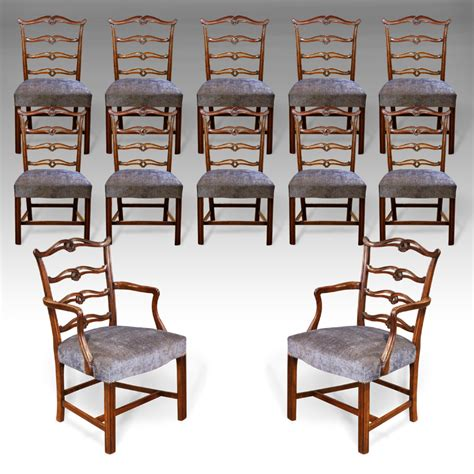 Set Of 12 Antique Dining Chairs, Chippendale Dining Chairs, Georgian Dining Chairs, Walnut