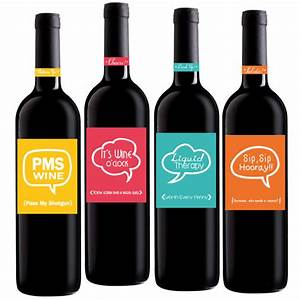 funny wine labels set of 4 4x5 inch party wine labels With hilarious wine labels