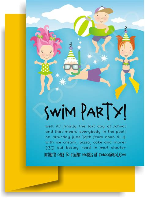 einladung kindergeburtstag schwimmen basteln geburtstag