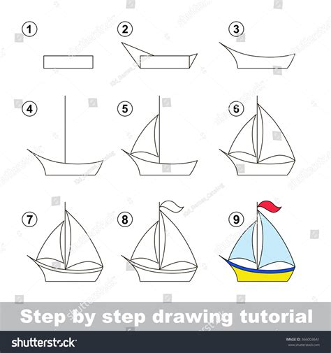 Boat Drawing Instructions by Drawing Tutorial How Draw Boat Stock Vector 366003641