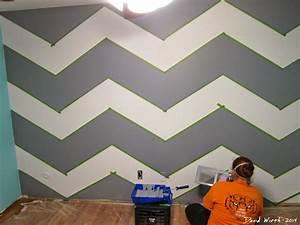 Geometric triangle wall paint design idea with tape diy