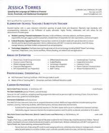 resume for school teachers pdf substitute resume exles best business template