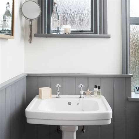 Bathroom Ideas Grey And White by White And Grey Bathroom With Traditional Basin Bathroom