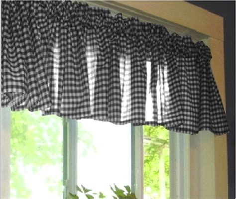 black and white gingham check window valance