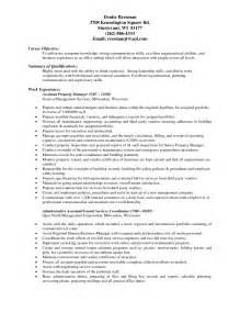 resume for assistant property manager position experienced assistant property manager resume sle for seekers expozzer