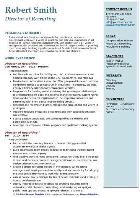 director  recruiting resume samples qwikresume