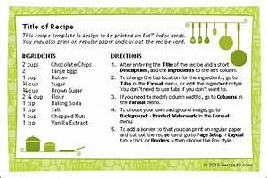 free printable recipe card template for word With template for recipes in word