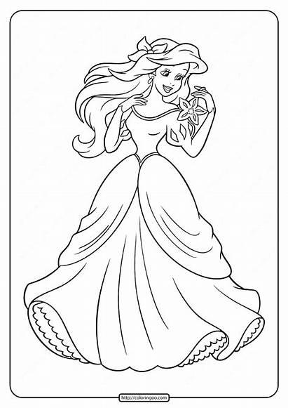 Coloring Princess Ariel Printable Tweet Whatsapp