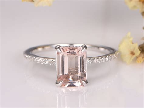 myray pink morganite engagement ring 7x9mm emerald cut stone 14k white gold diamond band bridal