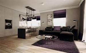 Moderne Kissen Für Sofa : modernes wohnzimmer mit dunklem sofa einrichten 55 ideen ~ Bigdaddyawards.com Haus und Dekorationen