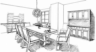 Dining Drawing Sketch Coloring Colorear Comedor Dinning