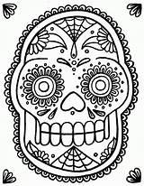 Coloring Skull Sugar Simple Popular sketch template