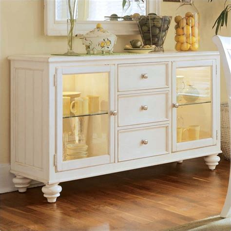 white buffet table with wood top american drew camden antique white china buffet credenza