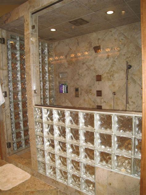Glass Block Bathroom Designs by A Glass Block Wall That Steps A Bench Seat With