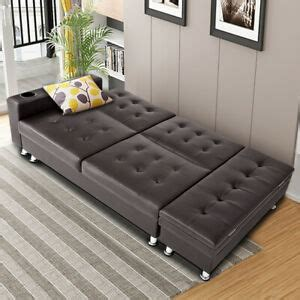 Bed Settee With Storage by Faux Leather Ottoman Sleeping Sofa Bed Settee With Cup