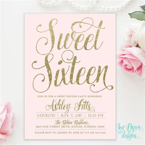 16th Birthday Invitations Templates by Sweet Sixteen 16th Birthday Invitation Blush Pink Gold