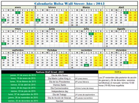 calendario wall street