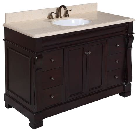 westminster 48 in bath vanity travertine chocolate traditional bathroom vanities and sink