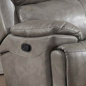 Grey Leather Gel Manual Recliner Living Room Set 3pcs Ac