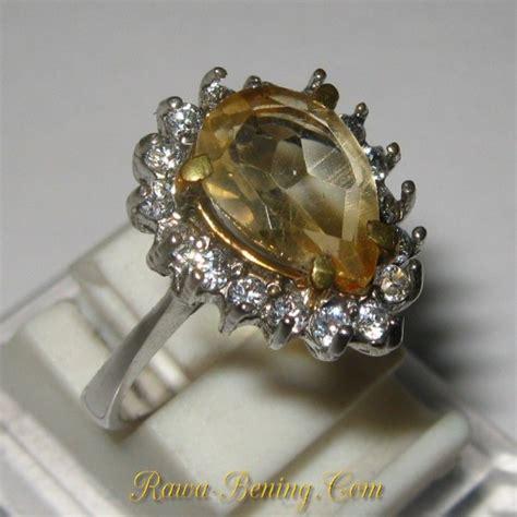 cincin silver 925 batu permata citrine pear shape
