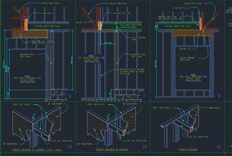wood framing details cad files dwg files plans  details