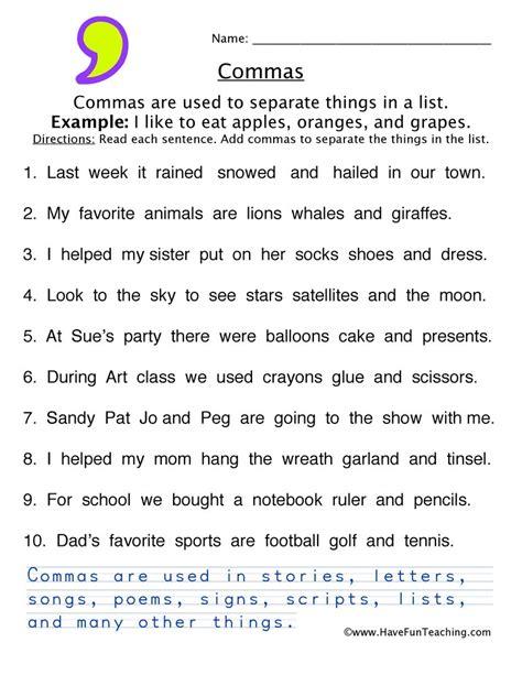 comma worksheet