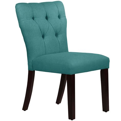 tufted leather chair turquoise rochelle tufted dining chair everything turquoise