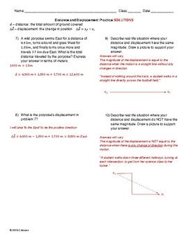 basic motion worksheet distance displacement speed velocity