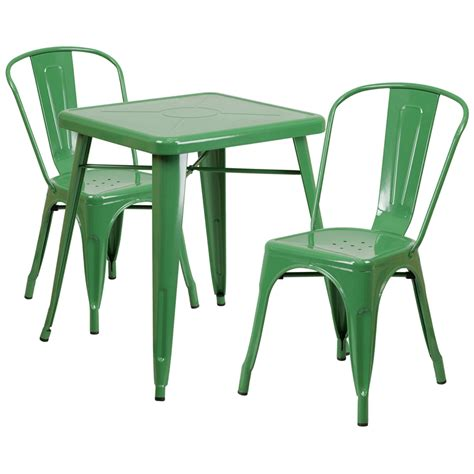 23 75 square green metal indoor outdoor table set with 2