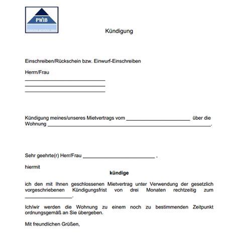 vorlage kuendigung mietvertrag dokument blogs