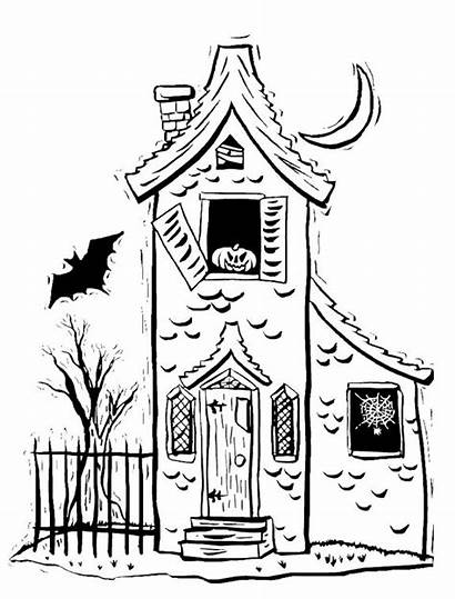Spooky Halloween Coloring Pages Haunted Drawings Houses