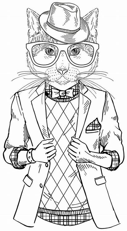 Coloring Pages Hipster Adults Cartoon Printable Activity