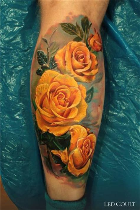 realistic yellow roses tattoo  led coult  tattoo