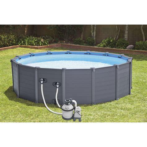 piscine hors sol autoportante tubulaire graphite intex diam 4 78 x h 1 24 m leroy merlin