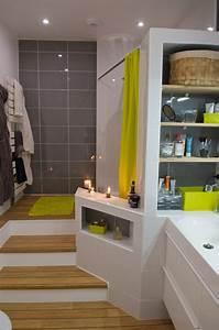 Ma Salle De Bain : ma salle de bain parquet estrade blanc gris bois vert ~ Dailycaller-alerts.com Idées de Décoration