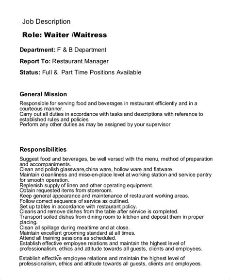 sample waiter resume waitress job description for resume best resume gallery