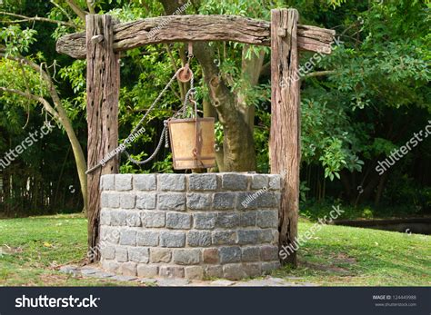 Old Water Well Pulley Bucket Stock Photo 124449988