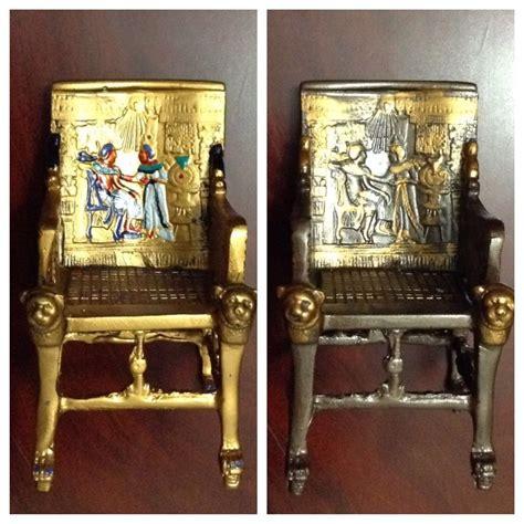 king tut egyptian throne chairdark oxidized bronze gold