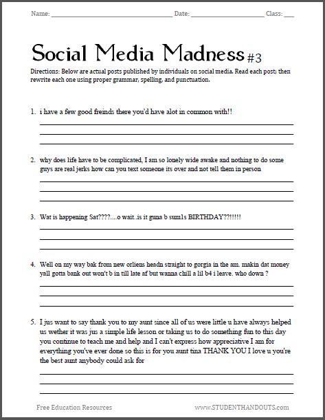 social media madness worksheet     humorous