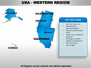 oregon state powerpoint template - usa western region country editable powerpoint maps with