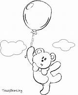 Teddy Bear Coloring Balloons Teddybears Sketch Credit Larger sketch template