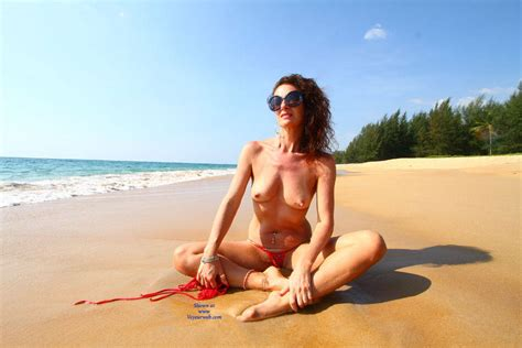 Topless Brunette At The Beach March Voyeur Web