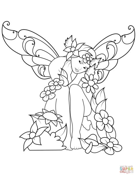 sad fairy coloring page  printable coloring pages