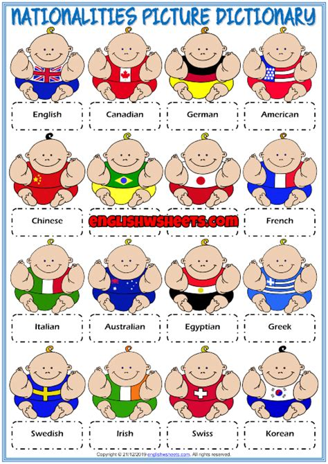 nationalities esl picture dictionary worksheet  kids