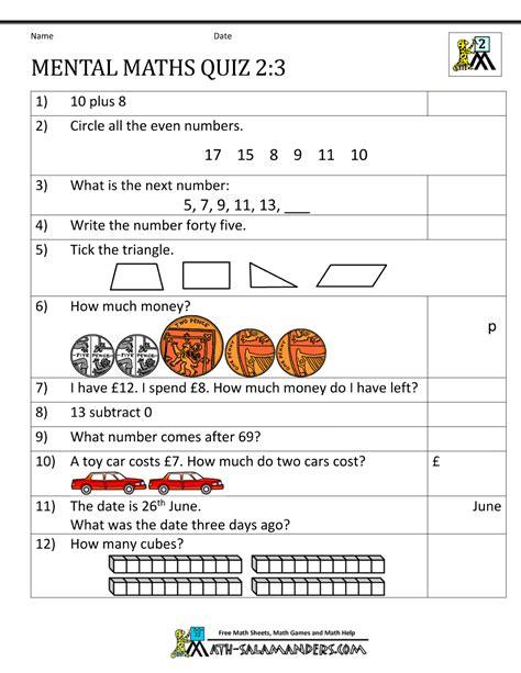 Printable Mental Maths Year 2 Worksheets