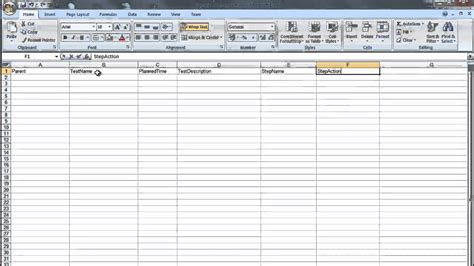 creating  ms excel test plan document  importing