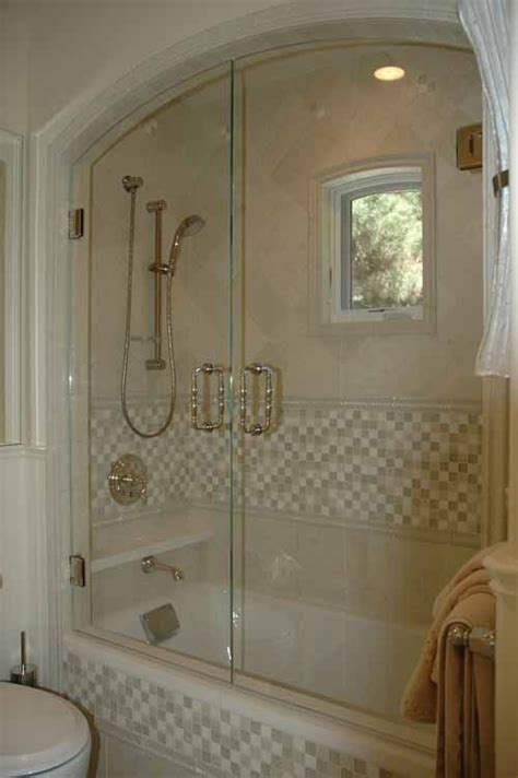 shower arch ceiling arched pair  swinging shower doors