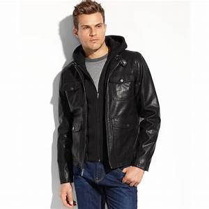 Lyst - Guess Coats Faux Leather Fourpocket Hooded Jacket ...