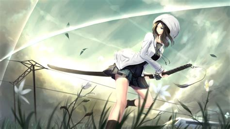 wallpaper asako kusakabe anime girl katana anime